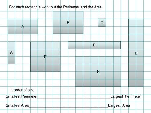 Maths Area & Perimeter of rectangles starter by Tristanjones ...