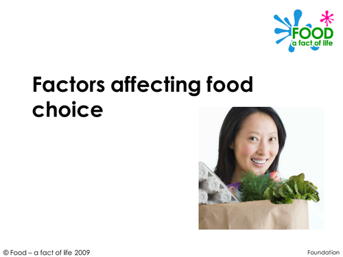 Lifestyle - Factors affecting food choice