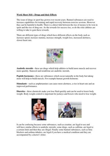 Extended Certificate in Sport - Drugs Worksheet by NGfLCymru ...
