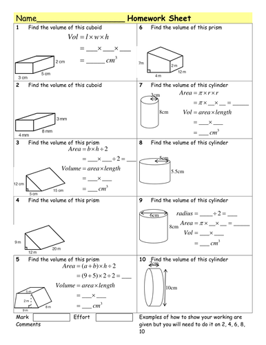 HW Volume of Prisms & cylinders by Tristanjones - Teaching Resources ...