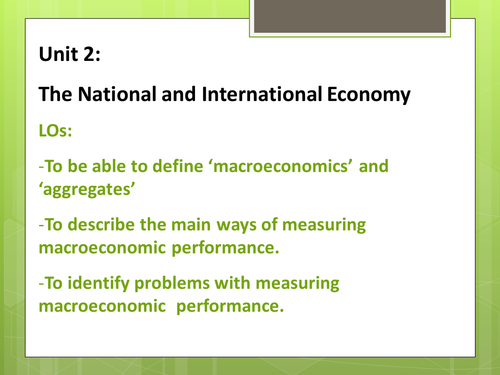 The National and International Economy Introductio