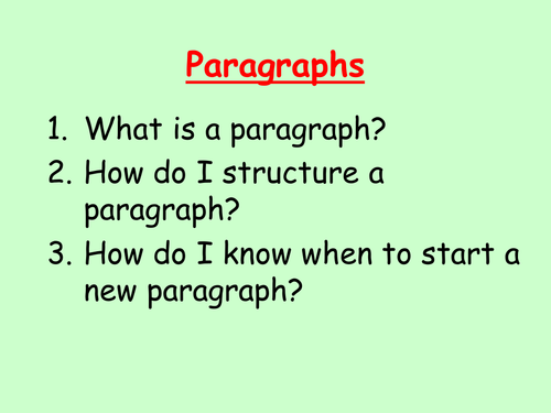 Paragraph Structure and Use: Lesson Starter