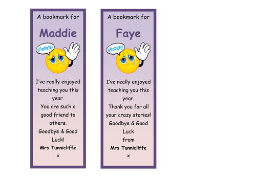 End of Year Class Bookmarks | Teaching Resources