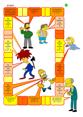 Maths: BIDMAS Board Game with the Simpsons