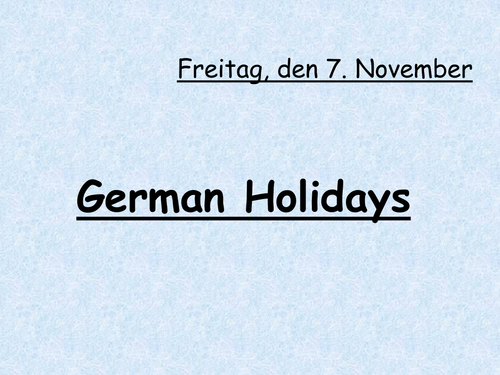 German Holidays and Festivals