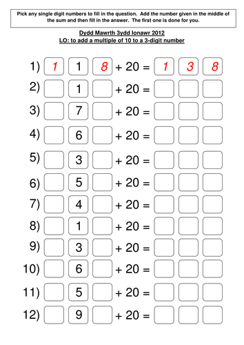 Add Subtract Multiple Of 10 From 3 Digit Number By