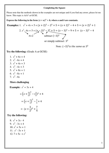 Completing the square (GCSE A/A* grade) Also 4 C1