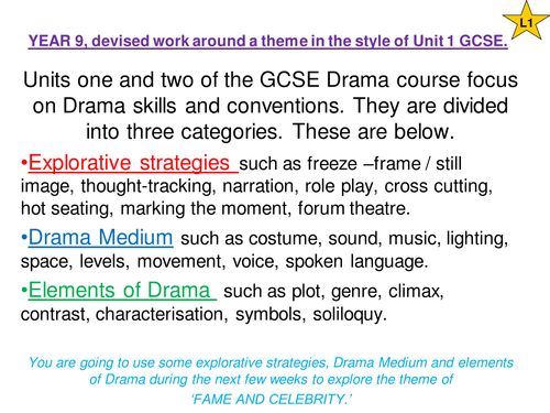 drama gcse unit 1 coursework