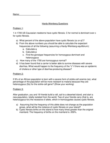 Hardy Weinberg Questions Worksheet By Janehughes11