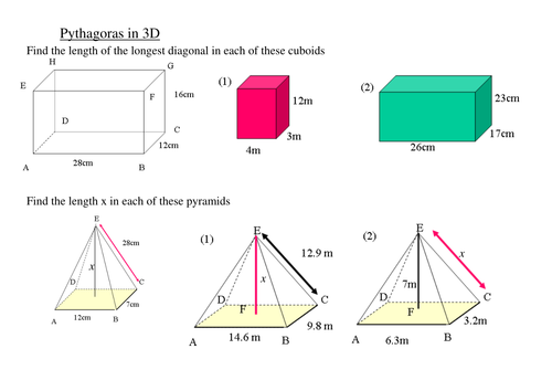 using pythagoras in 3d shapes gcse by tristanjones teaching resources tes. Black Bedroom Furniture Sets. Home Design Ideas
