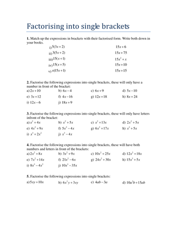 GCSE - Factorising into Single Brackets Worksheet