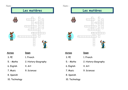 Les matieres scolaire - Crosswords