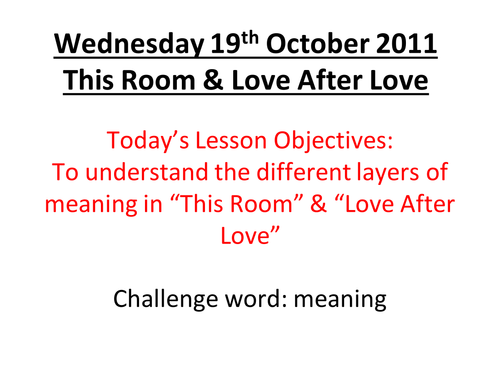 This Room / Love After Love Comparison lesson by MissRathor