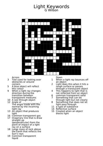Light Keywords Crossword DCJSSS