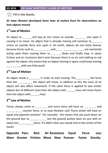 Laws of Motion Fill in the Blanks DCJSSS