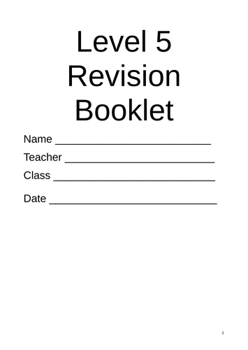 Maths Level 5 Revision Booklet