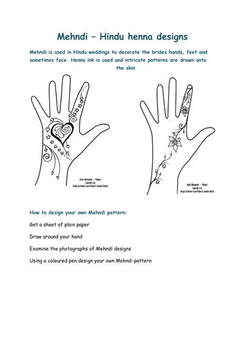 Mehndi Patterns Tes : Mehndi mendhi or henna booklet and activitity by