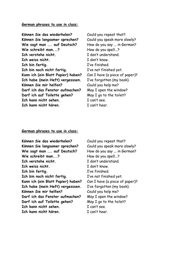 German phrases to use in class