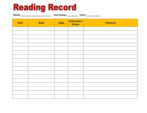 Reading Record recording sheet by hroberts999 - Teaching Resources ...