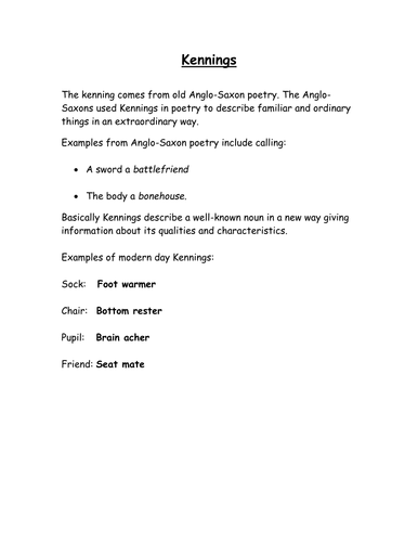 kennings poetry worksheet by rec208 teaching resources tes