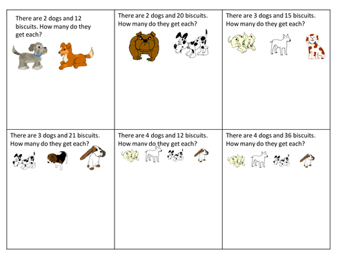 simple division worksheet  dog biscuits by claireh  teaching  simple division worksheet  dog biscuits by claireh  teaching  resources  tes
