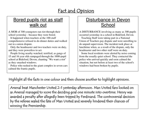 Bias Fact And Opinion By Rec208 Teaching Resources Tes