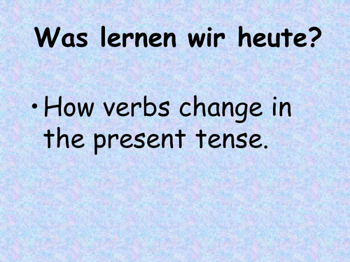 Present tense verb endings in German