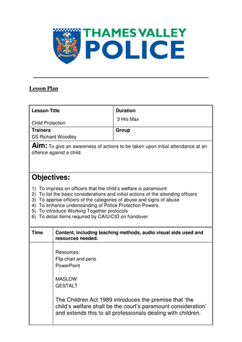 Police Training - Child Protection - Lesson Plan by WoodleyR