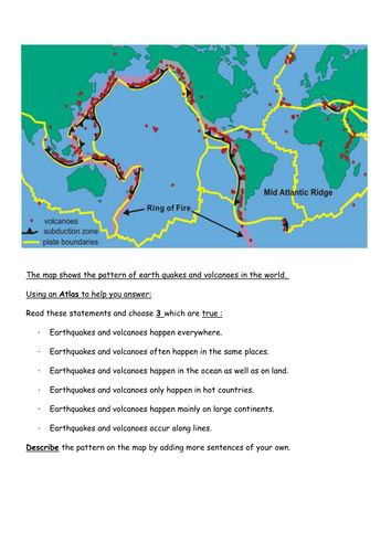 Location of earthquakes and volcanoes