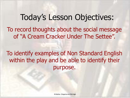 cream cracker under the settee essay help A cream cracker under the settee story this play is set in modern times, and is about an old woman called doris, in her seventies who likes to be very clean and tidy, but because of her age, will have to move into old peoples home if she is caught cleaning.