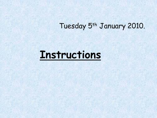 SEN English. How to write instructions.