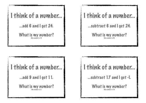 KS3 Maths algebra solving equation cards