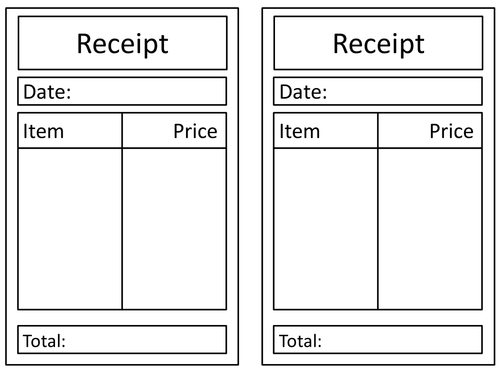 General Role Play Receipt By Claireh Teaching Resources Tes - Shopping receipt template