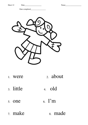First 100 High Frequency Words practice sheets by