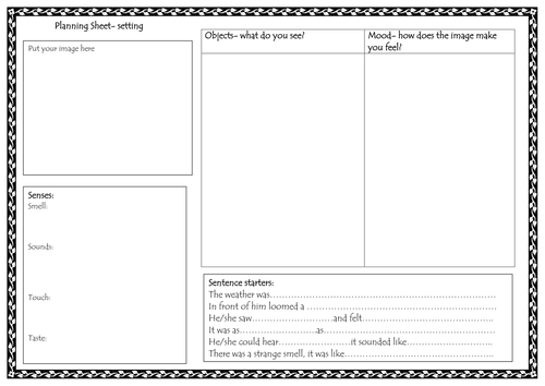 Homework sheets describing character and setting by parfett – Character and Setting Worksheets