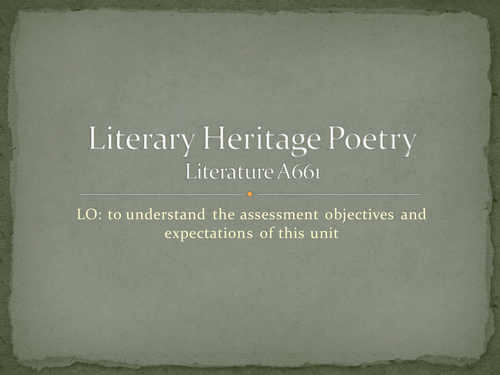 Intro to A661 CA Poetry - Owen