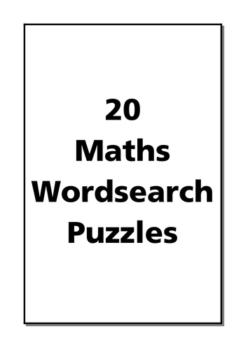 20 Mathematical Keywords Wordsearches
