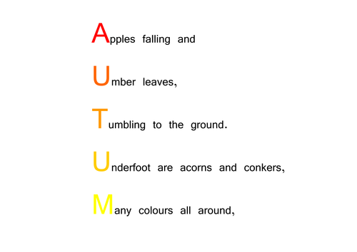 Autumn Acrostic Poem By Choralsongster Teaching Resources Tes