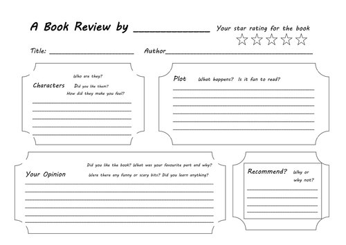 Elementary Book Cover Template : Book review template by penden teaching resources tes