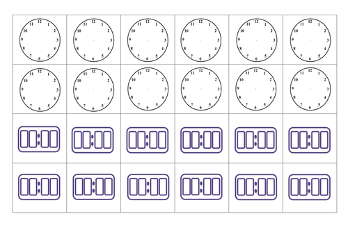 Free Worksheets » Blank Clock Sheets - Free Math Worksheets for ...