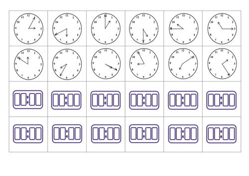 Analogue and digital time card matching game
