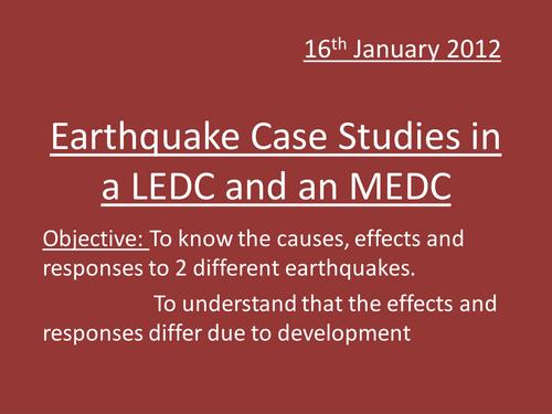 MEDC LEDC Earthquakes