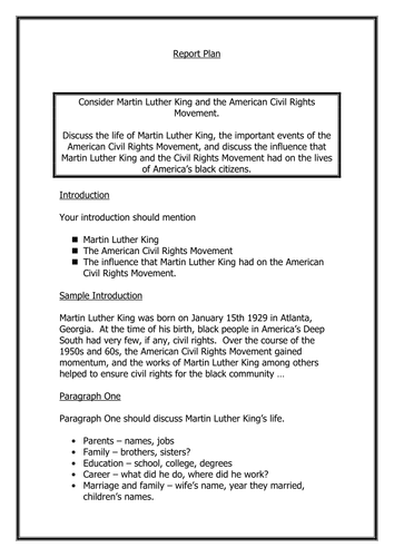 Martin Luther King Report