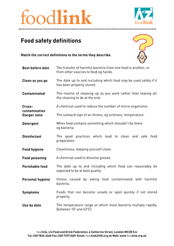 Fun Food Safety Quiz by goldson1 - Teaching Resources - Tes