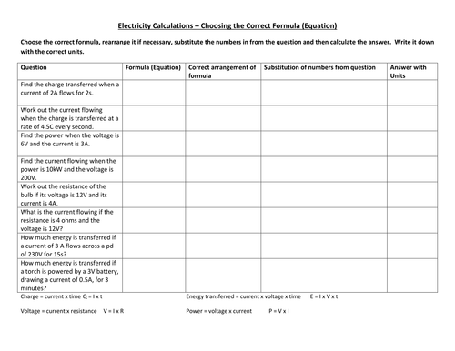 Worksheet Electricity Calculations by CSnewin Teaching – Energy Calculations Worksheet