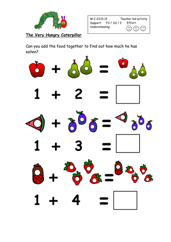 the very hungry caterpillar addition worksheet by laura read teaching resources tes. Black Bedroom Furniture Sets. Home Design Ideas