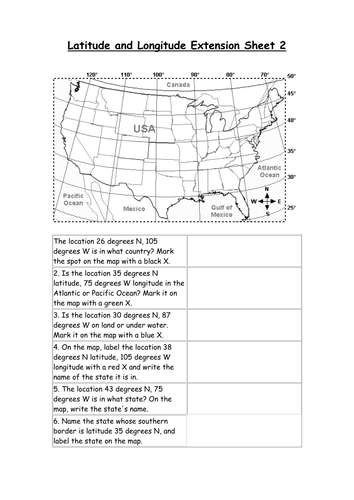 Latitude And Longitude Worksheets By Derkaiser Teaching