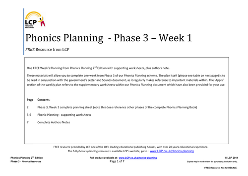 Phonics Planning Phase 3 Letters and Sounds