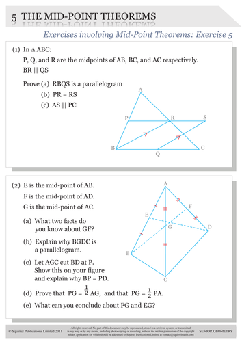 Exercise & Solutions on the Mid-Point Theorem