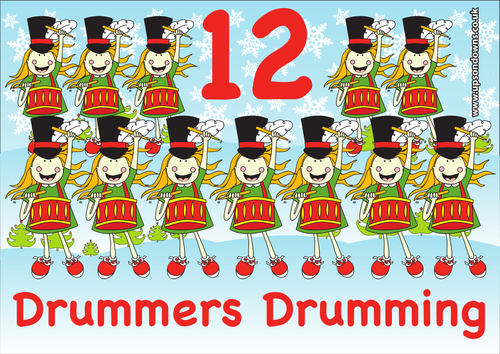 12 Drummers Drumming Poster Teaching Resources